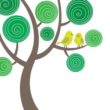 usignolo: Colorful composizione divertente con due uccelli sull'albero Vettoriali