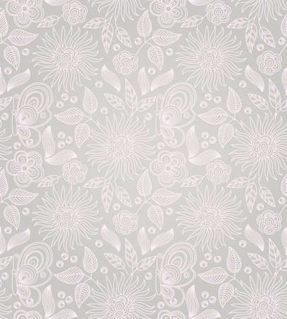 Decorative  seamless drawing with flowers, leaves and butterflies 免版税图像 - 15205348