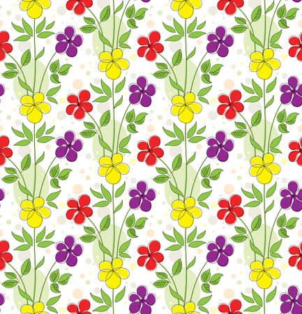 Colorful seamless background with funny decorative flowers Vector