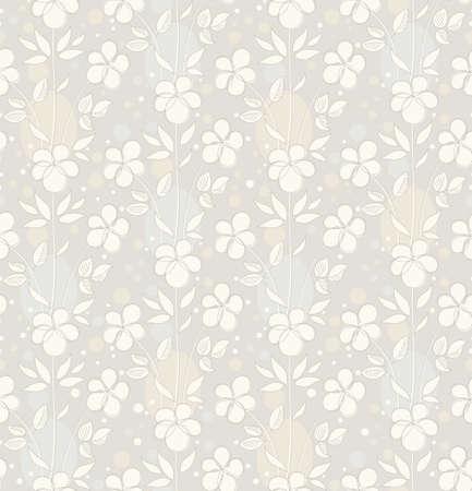 ecru: Light grey seamless background with decorative flowers Illustration