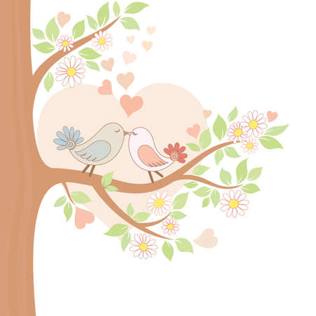 Decorative color illustration of two kissing birds