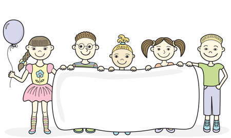 illustration of five smiling kids holding an empty banner in their hands Vector