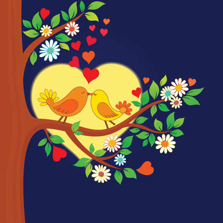 Decorative color illustration of two kissing birds in the moonlight Vector