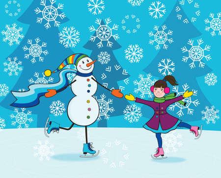 snowballs: Felice bambina e divertente pattinaggio pupazzo di neve sorridente Vettoriali