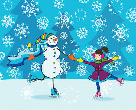 Happy little girl and funny smiling snowman skating
