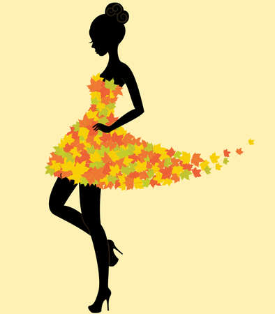 autumn woman: Silhouette of the young beautiful dancer girl in dress of autumn leaves Illustration