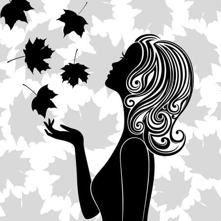 Line art of young woman with leaves flying round