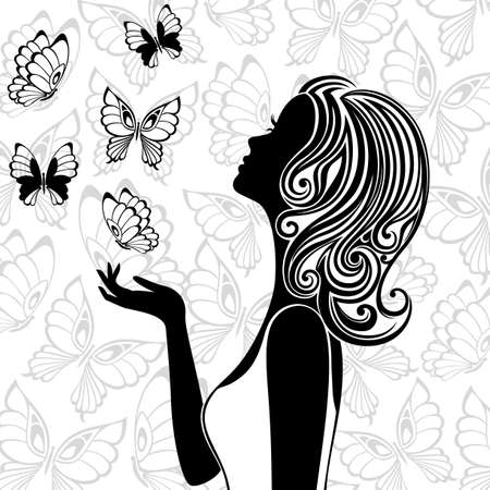 face silhouette: Line art of young woman with butterflies flying around Illustration