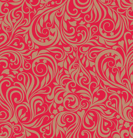 Decorative celebratory curly seamless background with flowers and hearts Vector