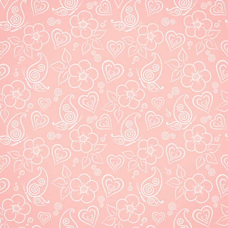 Delicate floral seamless pattern with flowers, butterflies and hearts