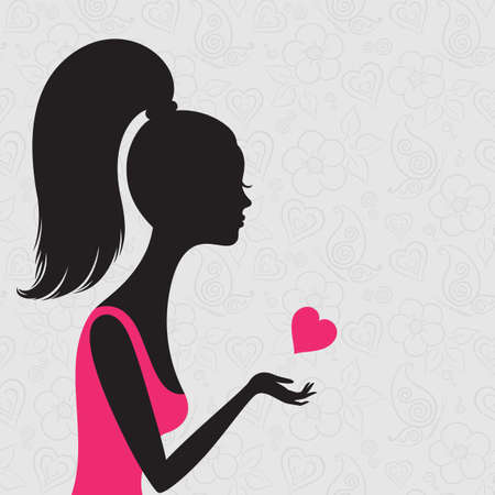 Line art of young woman in love on a seamless background Vector
