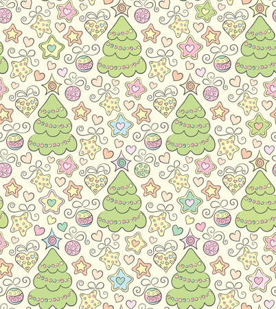 Hand drawn funny seamless christmas color background Vector