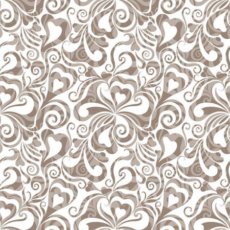 Decorative curly seamless background with flowers and hearts  EPS10  Illustration
