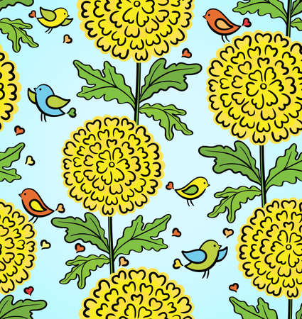 Colorful funny seamless pattern with flowers and birds Vector