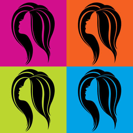 Color illustration of girl s face profile in pop-art style Vector