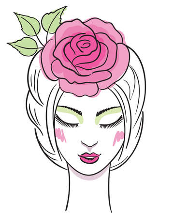Fashion illustration of a beautiful young woman with rose in hair  Vector