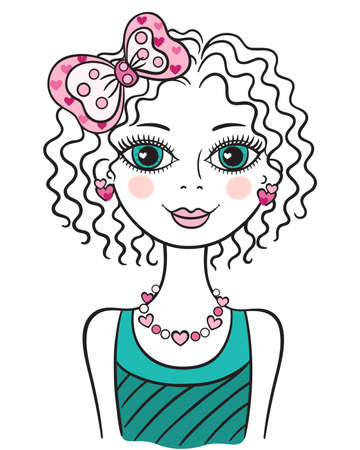 girls with bows: Illustration of young little funny teen girl