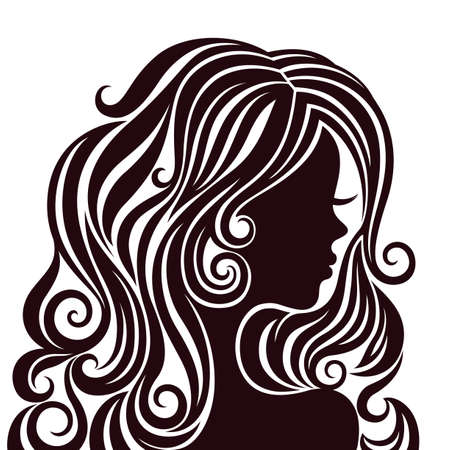 Black and white silhouette of a young lady with luxurious hair 免版税图像 - 16916398