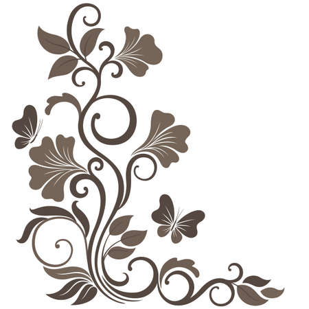 Floral illustration in sepia  Ornament corner element