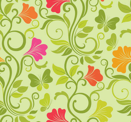 Floral vector seamless background with fresh spring flowers and butterflies