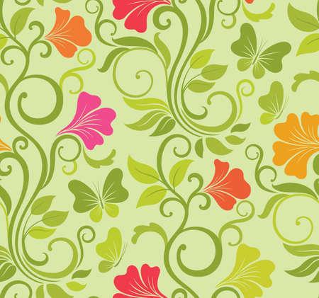floral vector: Vector de fondo floral sin fisuras con flores y mariposas de primavera fresca