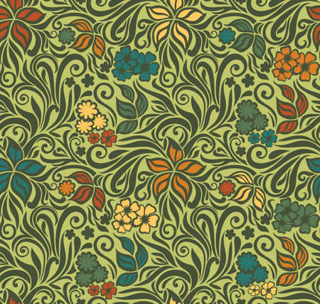 Decorative floral seamless pattern on the olive background with flowers and leaves Vector