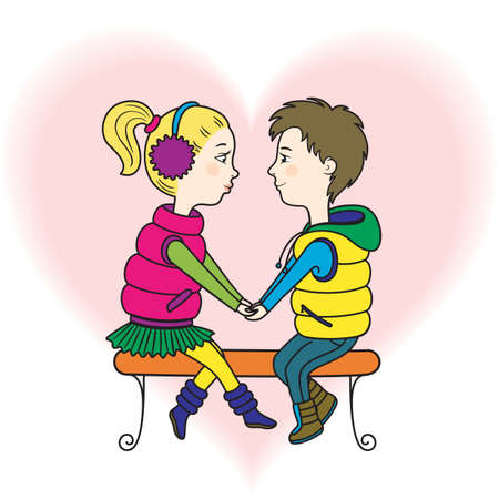 A happy teen lovers couple  a boy and a girl holding hands, sitting at the bench Stock Vector - 17249022