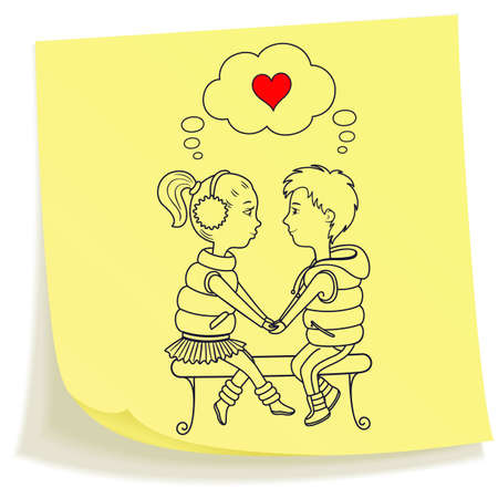sticky hands: Sticky note with drawn boy and girl holding hands sitting at the bench Illustration