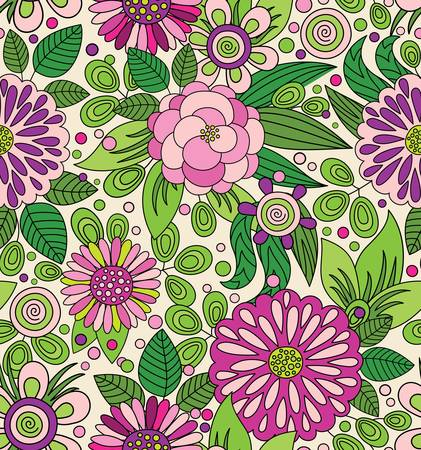 Bright colourful seamless pattern with flowers 矢量图像
