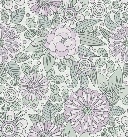 rose: Floral vector seamless pattern in soft colors