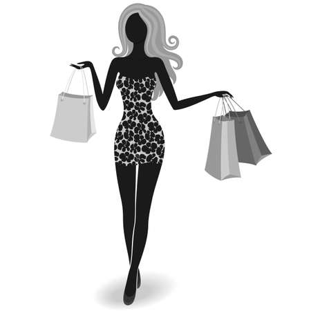 shopping center: Silhouette of an isolated luxurious girl with shopping bags Illustration