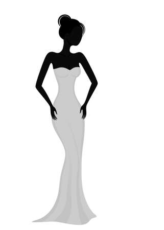 elegant lady: Silhouette of a girl in white evening dress Illustration