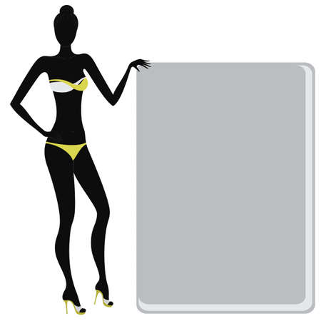young girl nude: Silhouette of a bikini girl holding an empty banner