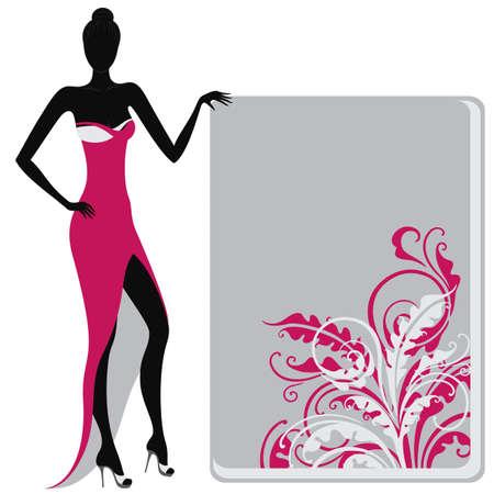 abito elegante: Silhouette di una ragazza in abito da sera in possesso di un banner ornato floreale