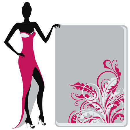 glamour woman elegant: Silhouette of a girl in evening dress holding a floral ornate banner