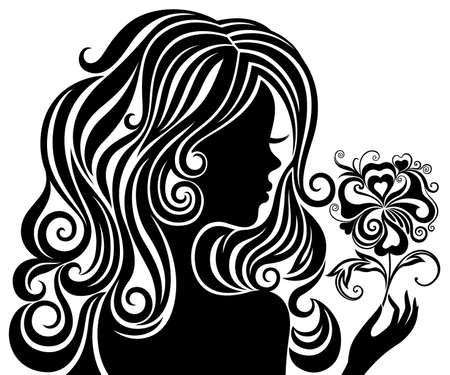 stencil: Black and white silhouette of a girl with luxurious hair and flower Illustration