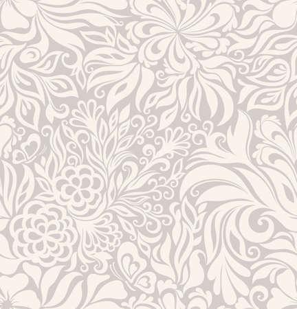 textura: Fundo gráfico sem emenda de luxo, com flores e folhas Ilustração