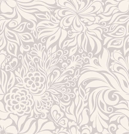 grey background: Luxury seamless graphic background with flowers and leaves