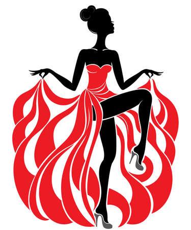 belle jeune fille danseuse en robe de soirée rouge