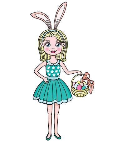 pretty blonde girl: Cute girl wearing bunny ears on Easter day. EPS 8.