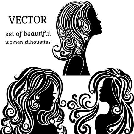 Set of women head silhouettes with curly hairstyles, face profile.