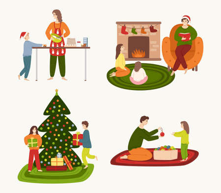 A set of people involved in preparing for the winter holidays and resting at home. Families cooking Christmas cake, read Christmas stories by the fireplace, children open presents.