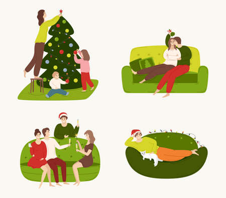 A set of people involved in preparing for the winter holidays and resting at home. Families decorate a Christmas tree, a couple kiss under mistletoe, friends celebrate holidays. Illustration