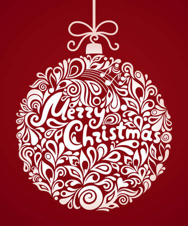 Vector Christmas greeting card with abstract swirl Christmas ball. Calligraphic