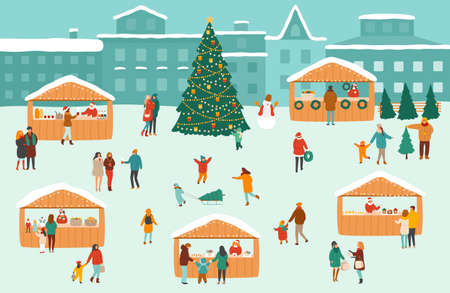 Illustration of a Christmas market or holiday outdoor fair on town square Illustration