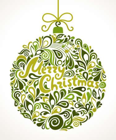 Christmas greeting card. Vector illustration. Christmas ball