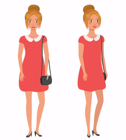 Young pretty girl. Front, 3 4 view. Cartoon style flat vector illustration Illustration