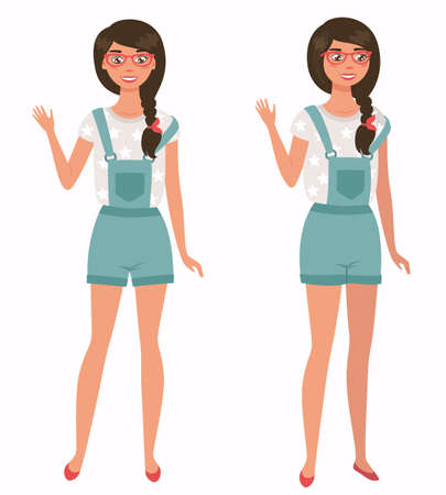 Young pretty girl. Front, 3 4 view. Cartoon style flat vector illustration 矢量图像