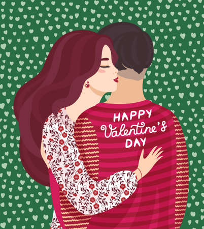 Vector design concept for Valentines Day. Vector illustration of a couple in love, cute posters, valentines day greetings. Card, poster, flyers, invitation, brochure, banner. 矢量图像
