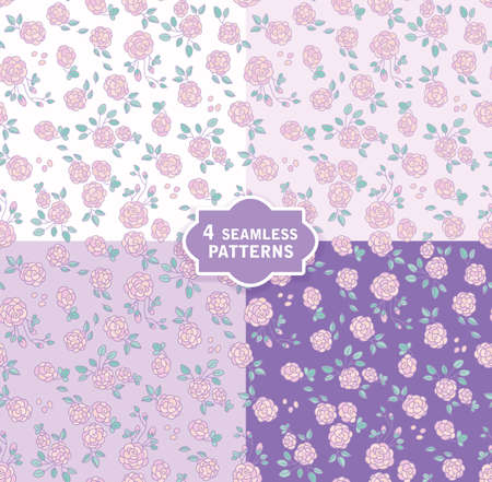Hand drawn seamless vector pattern with cute flowers in 4 colors. Perfect for fabric, wrapping paper, wallpaper or nursery decor. 免版税图像 - 125824255